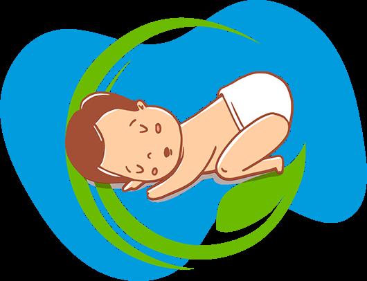 Illustration d'un bébé portant une couche Petits Pieds